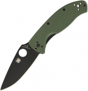 Spyderco Tenacious Black Blade, Green Handle